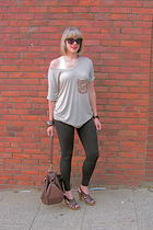 beige Son of John t-shirt - black Marshalls leggings - brown Target shoes - brow
