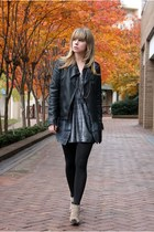 silver vintage dress - black jacket - black tights - tan shoes