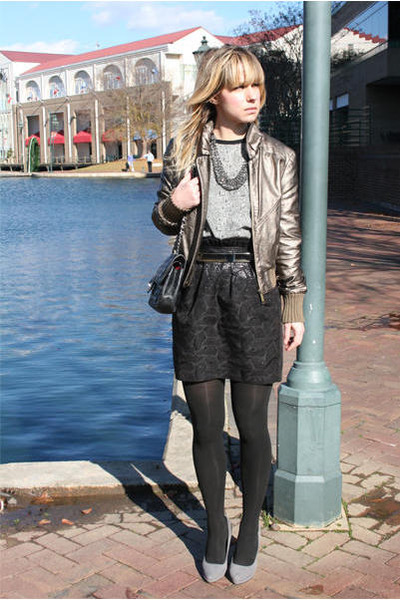 black Arden B skirt - gray gray suede shoes - bronze jacket - black tights