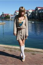 blue Urban Outfitters shirt - beige cardigan - gray socks - beige shoes - brown