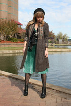 dark brown vintage coat - blue Arden B vest - green H&M dress - black tights - b
