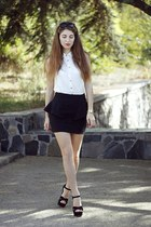 black Zara skirt - brown Forever21 sunglasses - off white new look blouse