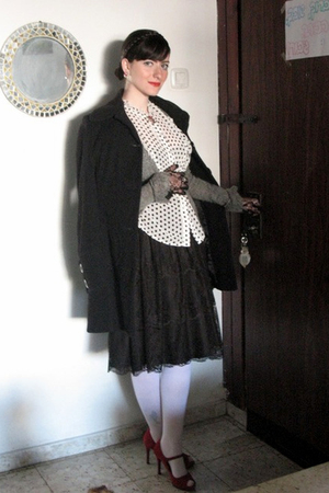 black Mango outlet dress - white thrift blouse - black Ebay gloves - gray Mango