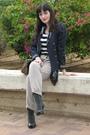 Beige-zara-pants-blue-thriffed-jacket-beige-asos-purse-black-ebay-shirt-