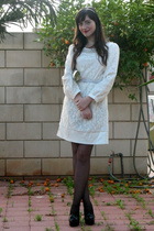 white Fillya boutique dress - black second hand Topshop shoes