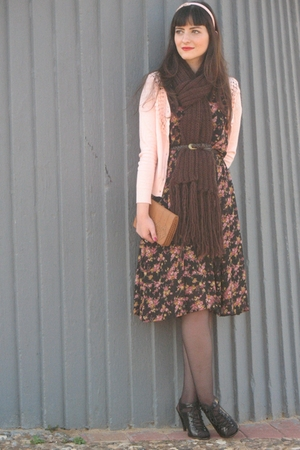 pink LilyGrace jacket - black asos shoes - black thriffed dress - beige thriffed