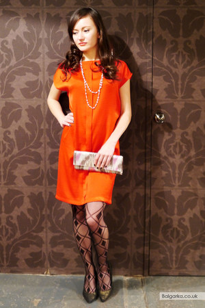red loose fit Mango dress - black patterned tights