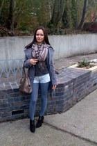 dark brown Cappollini boots - heather gray Sublevel coat - tan unknown scarf