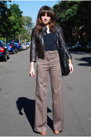 brown H&M pants - black Cue blouse - brown Dotti jacket