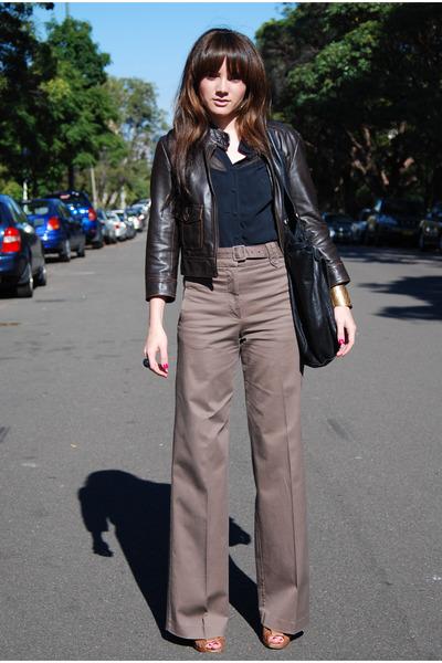 brown H&M pants - black Cue blouse - brown Dotti jacket
