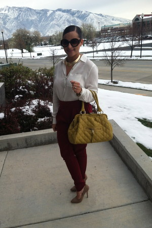 tan Forever 21 shoes - ivory Forever 21 blouse - maroon Forever 21 pants