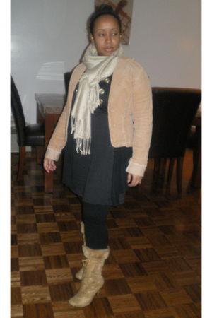blazer - leggings - scarf - dress - boots