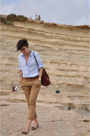 blue united colors of benetton shirt - brown Zara pants - brown Zara belt - red