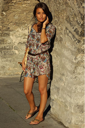 brown Mango belt - floral printed Zara dress - snake printed H&amp;M bag
