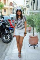 white white hat handmade hat - white white shorts Promod shorts
