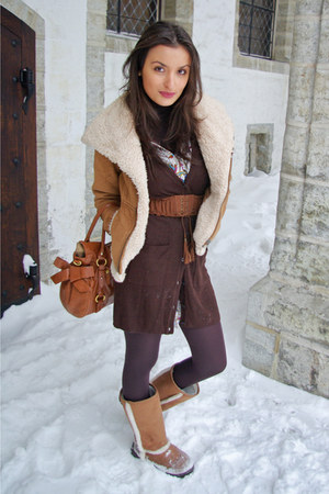 burnt orange Zara jacket - burnt orange Miu Miu bag - dark brown H&M cardigan