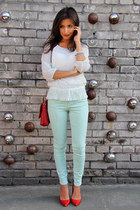 white dotted veromoda blouse - red Zara shoes - aquamarine Zara jeans