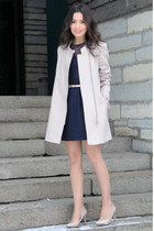 light pink next coat - neutral next shoes - navy next dress - eggshell next belt