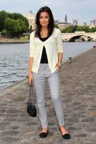 light yellow Zara cardigan - black Zara bag - black Promod t-shirt