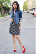 blue Zara jacket - black Promod dress - red Bershka heels