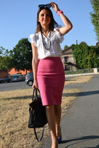 hot pink Zara skirt - white Zara shirt - black Prada bag