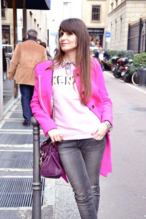 Jcrew coat - Mulberry bag - Kenzo sweatshirt