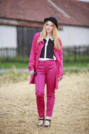 hot pink Jannis coat - hot pink Zara pants