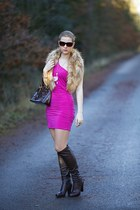 faux fur H&M scarf - Deichmann boots - Shopcalico dress - Louis Vuitton bag