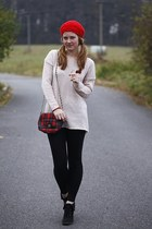 New Yorker sweater - hat - New Yorker leggings - Tally Weijl bag - F&F wedges