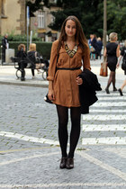 black H&M blazer - brown luluscom dress - black H&M tights - black romwe bag
