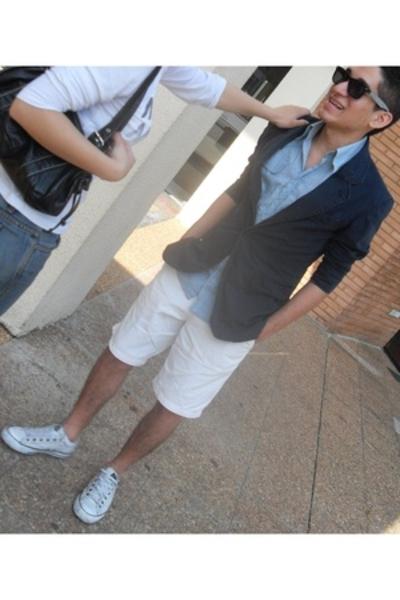 Zara blazer - shirt - shorts - Converse shoes