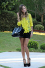 Black-celine-bag-yellow-bcbg-blouse-black-giuseppe-zanotti-heels