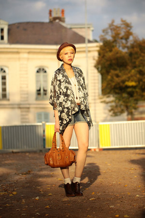 kimono Topshop blouse - Zara shoes - Claires hat - Chloe bag - Zara shorts