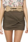 Army Green Knotted Detail Lu Lus Skirts