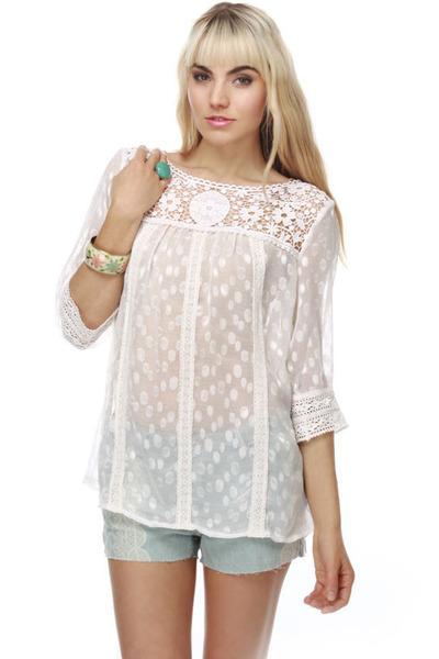 White Sheer Top Blouse 105