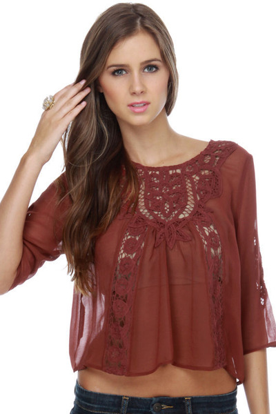 brick red lace LuLus top