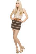 beige lace inset LuLus blouse - brown crocheted LuLus skirt - light brown elasti