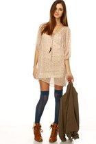 fur trimmed Chelsea Crew boots - floral print LuLus dress - thigh high LuLus sto