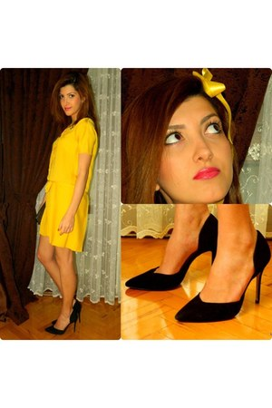 yellow Machka dress - gray Mango bag - black Zara heels