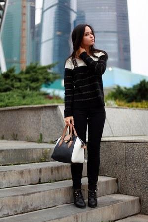 Topshop bag - River Island boots - Oasis sweater - Zara pants
