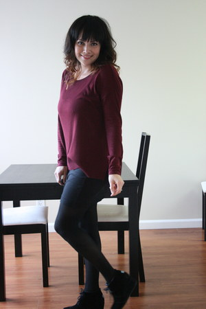 sweater - skirt - opaque stockings - suede wedges