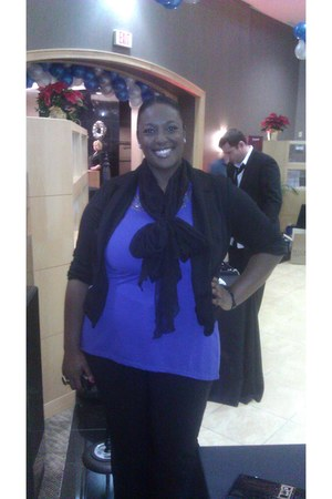 DOTS blazer - scarf - Forever21 bag - Tina Knowles top - torrid heels