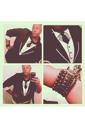 black Old Navy blazer - black Old Navy shirt - lime green Old Navy top