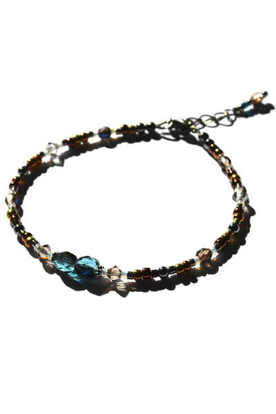 dark brown beaded crystal Budget Luxuries bracelet