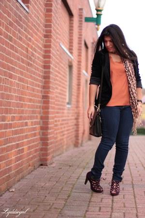 velvet Urban Outfitters blazer - leopard TJMaxx scarf - coach bag