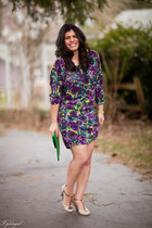 purple floral BCBGMAXAZRIA dress - green Avon bag - beige seychelles heels