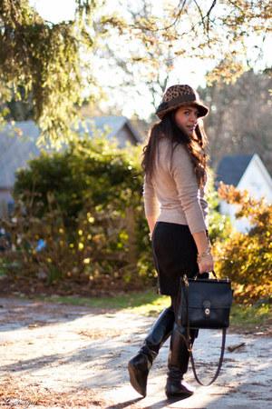 coach bag - leopard fedora Target hat - Gap sweater - H&M skirt