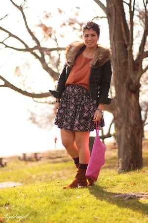 TJMaxx bag - Chinese Laundry boots - NY&CO jacket - floral TJMaxx skirt