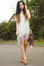 heather gray romwe dress - tan H&M bag - gold romwe necklace - tan Office wedges