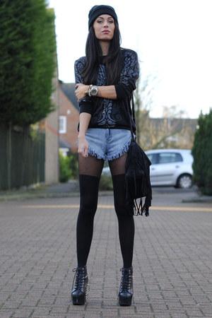 black AX Paris jumper - light blue Miss Guided shorts